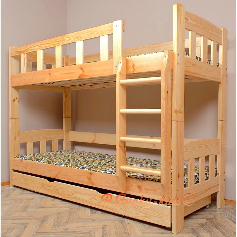 Letto a castello in legno massello Inez con cassetto 160x80 cm Lett...