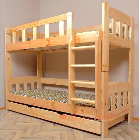 Letto a castello in legno massello Inez con materassi e cassetto 200x90 cm