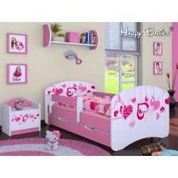 Lettino singolo Happy Rosa Collezione con cassetto e materasso 140x70 cm