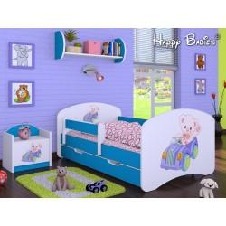 Lettino singolo Happy Blu Collezione con cassetto e materasso