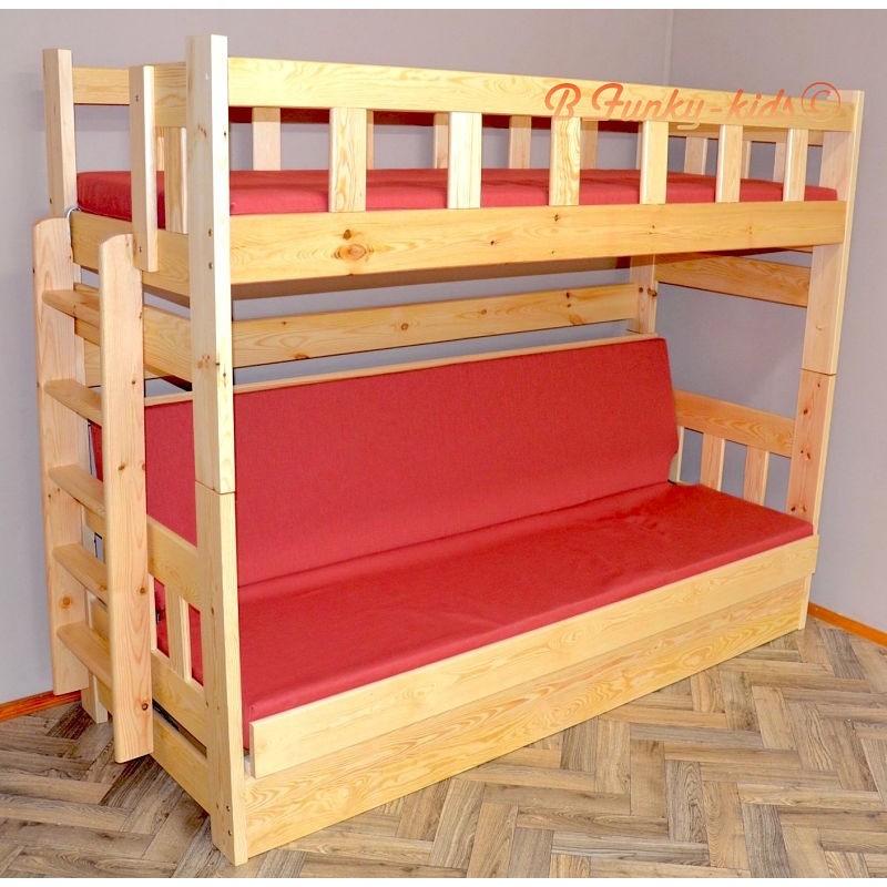 Letto a castello in legno massello Fabio con materassi 200x90 e 200...