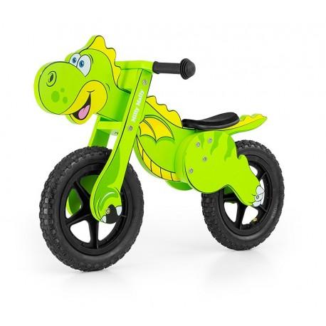Dino verde bici bambini in legno senza pedali
