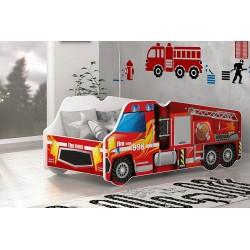 Lettino camion dei Pompieri con materasso 140x70 cm