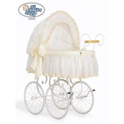 Culla neonato vimini Vintage Retro - Crema-Bianco