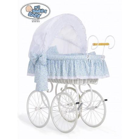 Culla vimini neonato Vintage Retro - Bianco-Blu