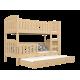 Letto a castello in legno massello Jacob 3 180x80 cm