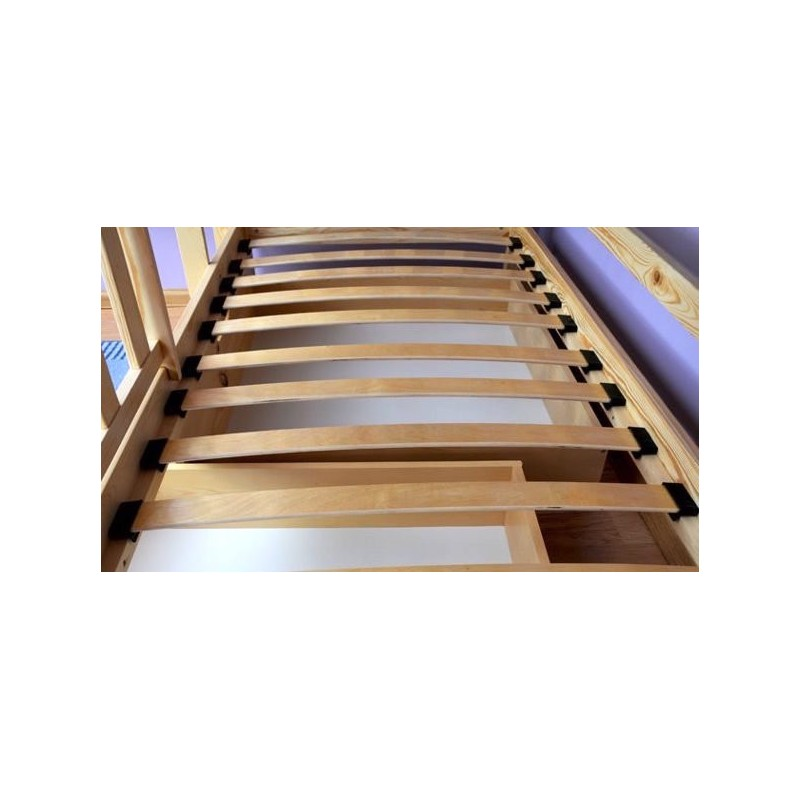 Letto a castello con estraibile in legno massello Jacob 3 ...